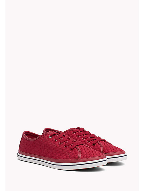 TOMMY HILFIGER Woven Cotton Trainers - TANGO RED - TOMMY HILFIGER VACATION FOR HER - main image