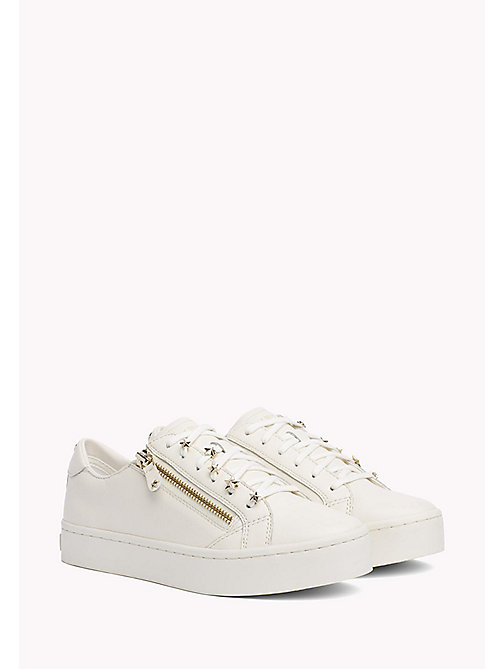 TOMMY HILFIGER Star Stud Leather Trainers - WHISPER WHITE - TOMMY HILFIGER The Office Edit - main image