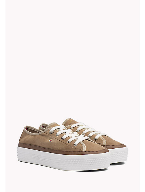 TOMMY HILFIGER Suede Plateau Trainers - DESERT SAND -  Shoes - main image