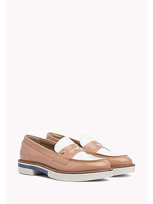 TOMMY HILFIGER Patent Leather Penny Loafers - SILKY NUDE - TOMMY HILFIGER Moccasins & Loafers - main image