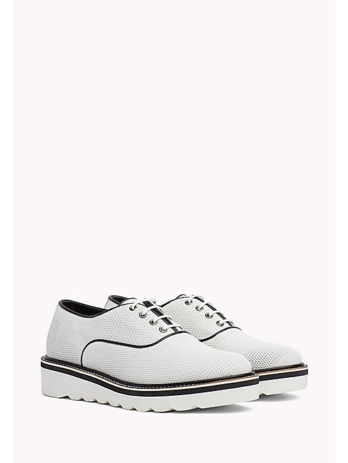 TOMMY HILFIGER Perforated Lace-Up Shoes - WHISPER WHITE - TOMMY HILFIGER Flat Shoes - main image