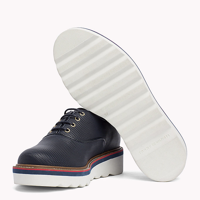 TOMMY HILFIGER Perforated Lace-Up Shoes - WHISPER WHITE - TOMMY HILFIGER Donne - dettaglio immagine 1