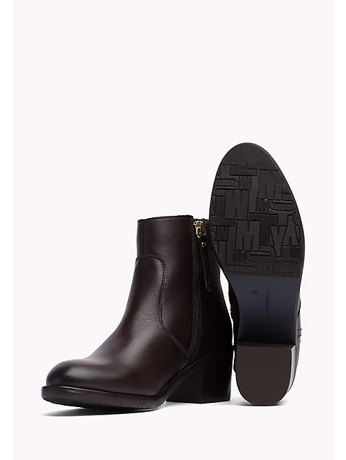 TOMMY HILFIGER Leather Ankle Boot - COFFEE - TOMMY HILFIGER Shoes - detail image 1