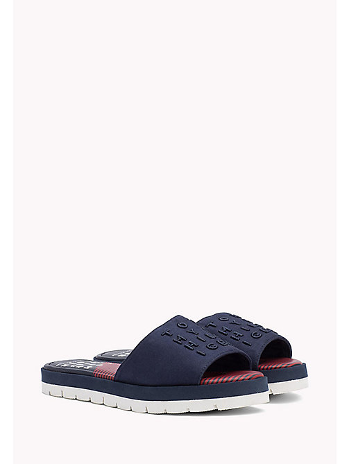 TOMMY HILFIGER Signature Slip-On Beach Sandals - TOMMY NAVY - TOMMY HILFIGER VACATION FOR HER - main image