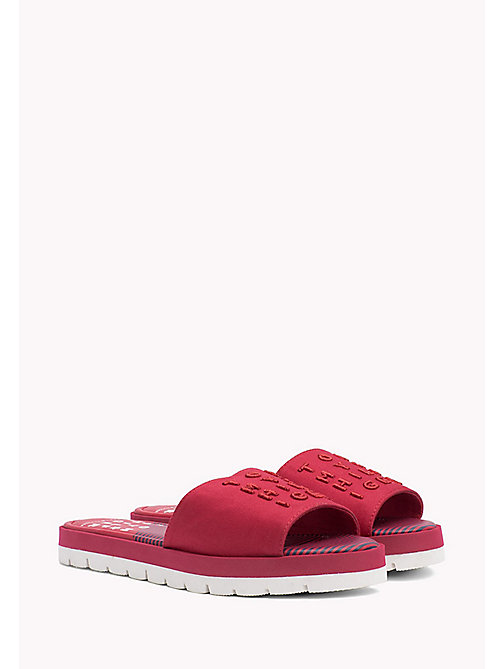 TOMMY HILFIGER Signature Slip-On Beach Sandals - TANGO RED - TOMMY HILFIGER Shoes - main image