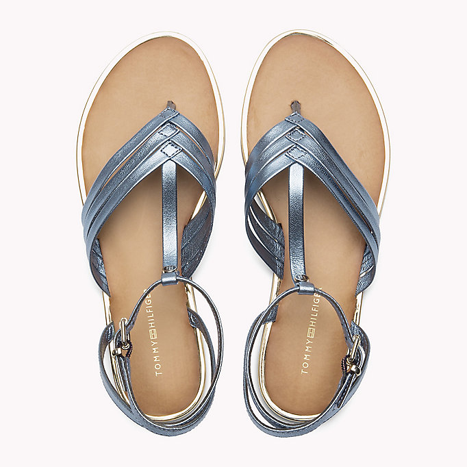 TOMMY HILFIGER Metallic T-Bar Sandals - FRAMBUESA - TOMMY HILFIGER SHOES - detail image 3