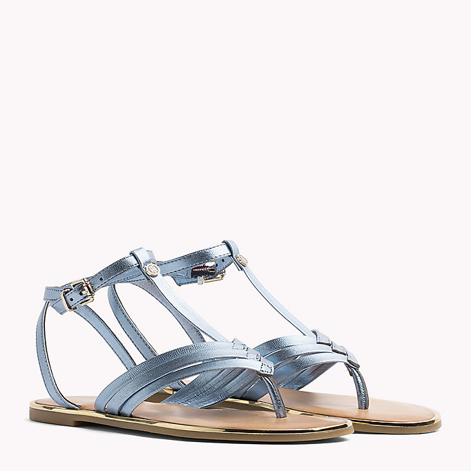 TOMMY HILFIGER Metallic T-Bar Sandals - FRAMBUESA - TOMMY HILFIGER SHOES - main image