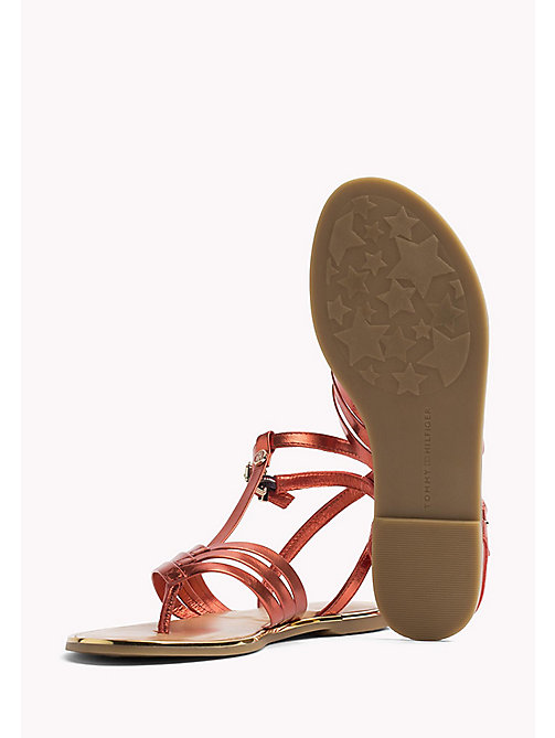 TOMMY HILFIGER Metallic T-Bar Sandals - RED CLAY - TOMMY HILFIGER Flat Sandals - detail image 1