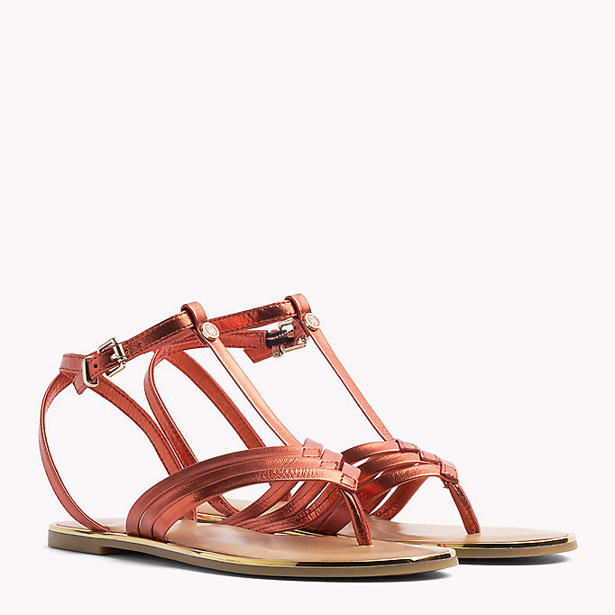 TOMMY HILFIGER Metallic T-Bar Sandals - ENGLISH MANOR - TOMMY HILFIGER SHOES - main image