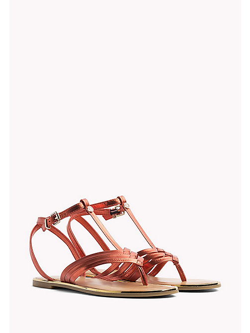 TOMMY HILFIGER Metallic T-Bar Sandals - RED CLAY - TOMMY HILFIGER Flat Sandals - main image