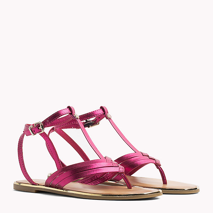 TOMMY HILFIGER Metallic T-Bar Sandals - MEKONG - TOMMY HILFIGER SHOES - main image