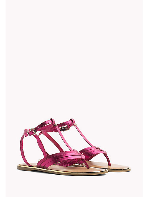TOMMY HILFIGER Metallic T-Bar Sandals - FRAMBUESA - TOMMY HILFIGER Flat Sandals - main image