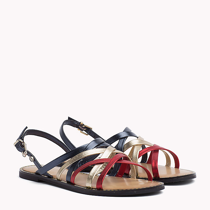 TOMMY HILFIGER Metallic Strappy Sandals - MEKONG - TOMMY HILFIGER SHOES - main image