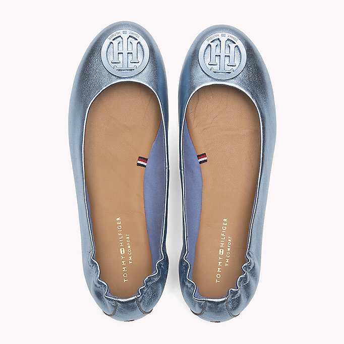 TOMMY HILFIGER Metallic Leather Ballerina Shoes - RED CLAY - TOMMY HILFIGER Women - detail image 3