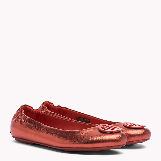 TOMMY HILFIGER Metallic Leather Ballerina Shoes - FRAMBUESA - TOMMY HILFIGER Women - main image