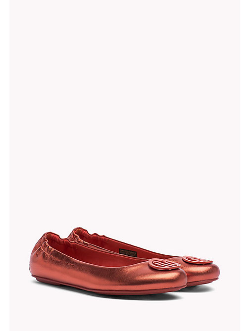 TOMMY HILFIGER Metallic Leather Ballerina Shoes - RED CLAY - TOMMY HILFIGER Ballerina Shoes - main image