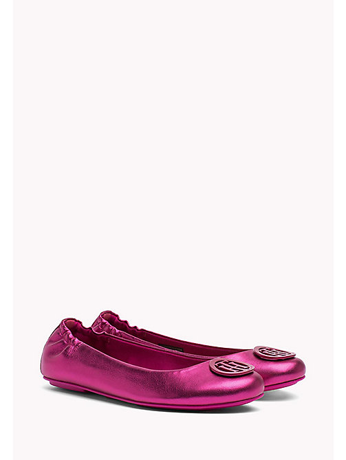TOMMY HILFIGER Metallic Leather Ballerina Shoes - FRAMBUESA - TOMMY HILFIGER Ballerina Shoes - main image