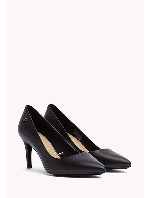 TOMMY HILFIGER Pointed Leather Pumps - BLACK - TOMMY HILFIGER Shoes - main image