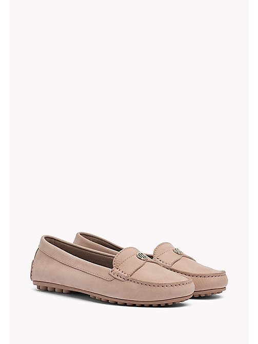 TOMMY HILFIGER Chain Trim Leather Moccasins - SILKY NUDE -  Moccasins & Loafers - main image
