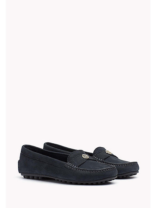 TOMMY HILFIGER Chain Trim Leather Moccasins - MIDNIGHT -  Moccasins & Loafers - main image