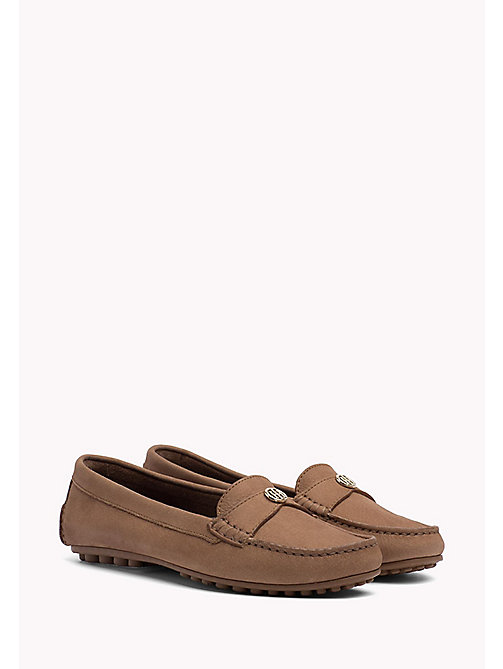 TOMMY HILFIGER Chain Trim Leather Moccasins - SUMMER COGNAC -  Moccasins & Loafers - main image