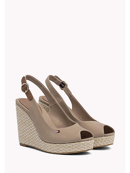 TOMMY HILFIGER Iconic Slingback Espadrille Wedge Sandals - COBBLESTONE - TOMMY HILFIGER Heeled Sandals - main image