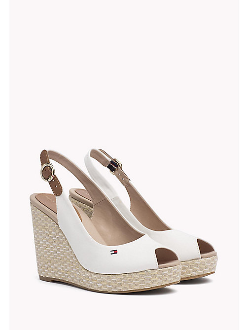 TOMMY HILFIGER Iconic Slingback Espadrille Wedge Sandals - WHISPER WHITE - TOMMY HILFIGER Heeled Sandals - main image