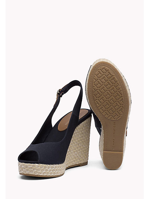 TOMMY HILFIGER Iconic Slingback Espadrille Wedge Sandals - MIDNIGHT - TOMMY HILFIGER Heeled Sandals - detail image 1