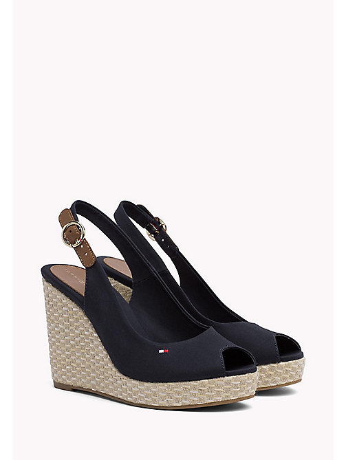 TOMMY HILFIGER Iconic Slingback Espadrille Wedge Sandals - MIDNIGHT - TOMMY HILFIGER Heeled Sandals - main image