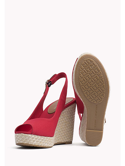 TOMMY HILFIGER Iconic Slingback Espadrille Wedge Sandals - TANGO RED - TOMMY HILFIGER Heeled Sandals - detail image 1