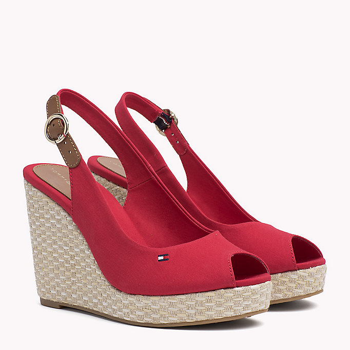 TOMMY HILFIGER Iconic Slingback Espadrille Wedge Sandals - COBBLESTONE - TOMMY HILFIGER Women - main image