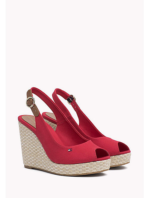 TOMMY HILFIGER Iconic Slingback Espadrille Wedge Sandals - TANGO RED - TOMMY HILFIGER Wedges - main image