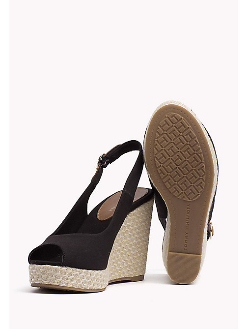 TOMMY HILFIGER Iconic Slingback Espadrille Wedge Sandals - BLACK - TOMMY HILFIGER Heeled Sandals - detail image 1