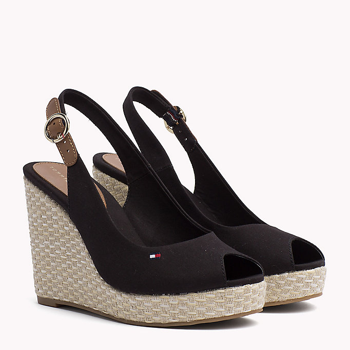 TOMMY HILFIGER Iconic Slingback Espadrille Wedge Sandals - WHISPER WHITE - TOMMY HILFIGER Women - main image