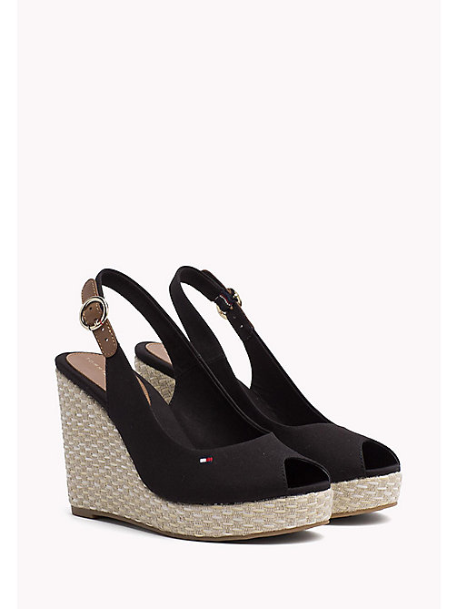 TOMMY HILFIGER Iconic Slingback Espadrille Wedge Sandals - BLACK - TOMMY HILFIGER Heeled Sandals - main image