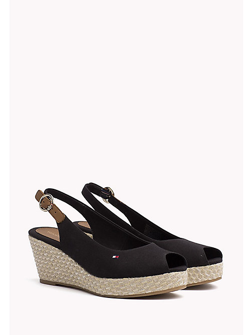 TOMMY HILFIGER Iconic Slingback Sandals - BLACK - TOMMY HILFIGER Wedges - main image