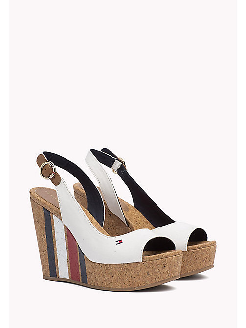 TOMMY HILFIGER Signature Stripe Wedge Sandals - WHISPER WHITE - TOMMY HILFIGER Wedges - main image