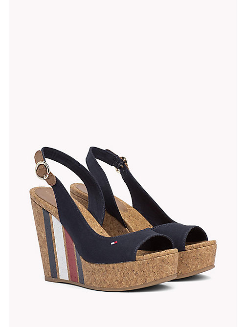 TOMMY HILFIGER Signature Stripe Wedge Sandals - MIDNIGHT - TOMMY HILFIGER Wedges - main image