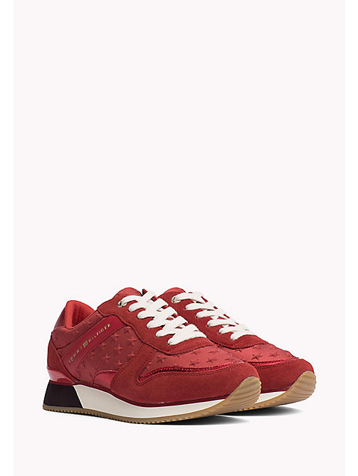TOMMY HILFIGER Suede Star Trainers - TANGO RED - TOMMY HILFIGER Athleisure - main image