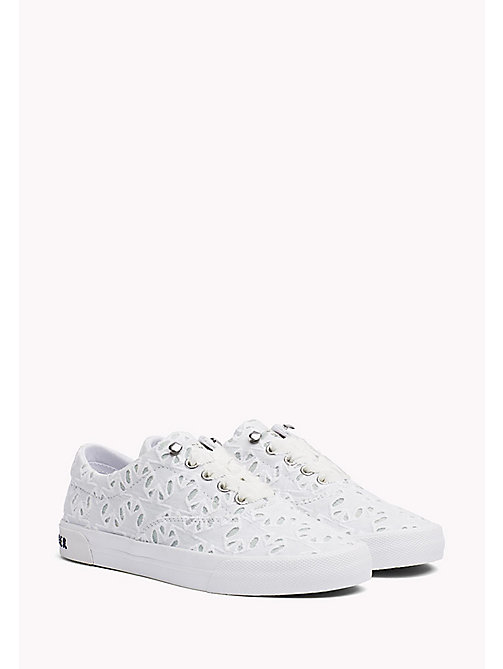 TOMMY HILFIGER Embroidered Lace-Up Trainers - WHITE - TOMMY HILFIGER Trainers - main image