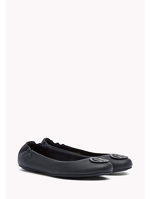 TOMMY HILFIGER Flexible Leather Ballerina Shoes - MIDNIGHT - TOMMY HILFIGER Ballerines - image principale
