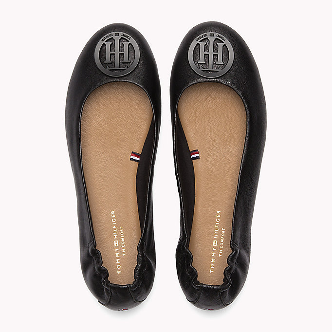 TOMMY HILFIGER Flexible Leather Ballerina Shoes - MIDNIGHT - TOMMY HILFIGER SHOES - detail image 3