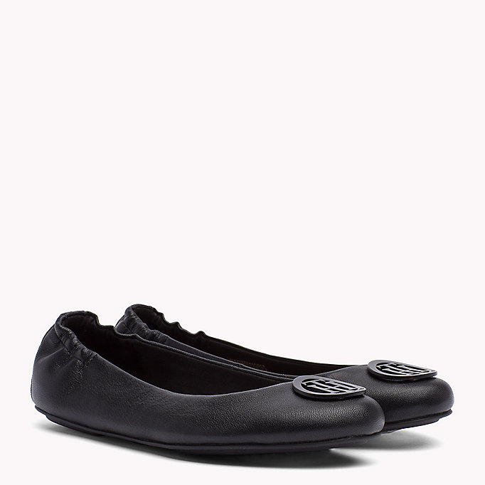 TOMMY HILFIGER Flexible Leather Ballerina Shoes - MIDNIGHT - TOMMY HILFIGER SHOES - main image