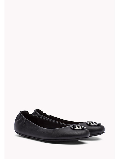 TOMMY HILFIGER Flexible Leather Ballerina Shoes - BLACK - TOMMY HILFIGER Ballerines - image principale