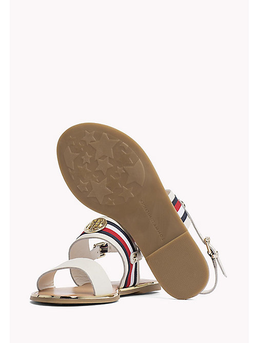 TOMMY HILFIGER Open Toe Leather Sandals - WHISPER WHITE - TOMMY HILFIGER Flat Sandals - detail image 1