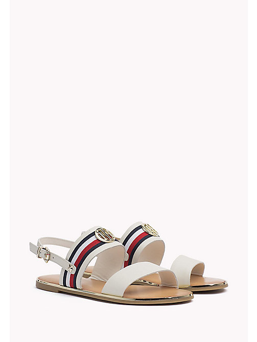 TOMMY HILFIGER Open Toe Leather Sandals - WHISPER WHITE - TOMMY HILFIGER Flat Sandals - main image