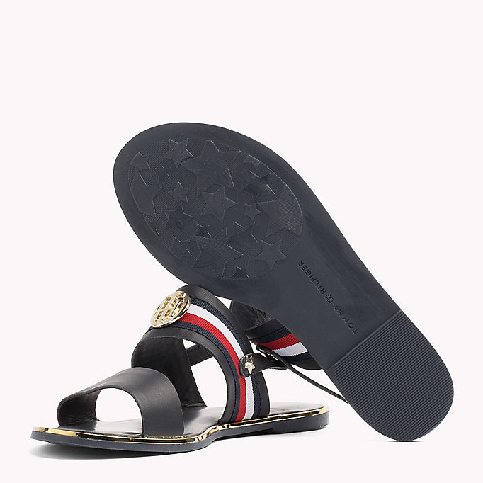 TOMMY HILFIGER Open Toe Leather Sandals - WHISPER WHITE - TOMMY HILFIGER SHOES - detail image 1