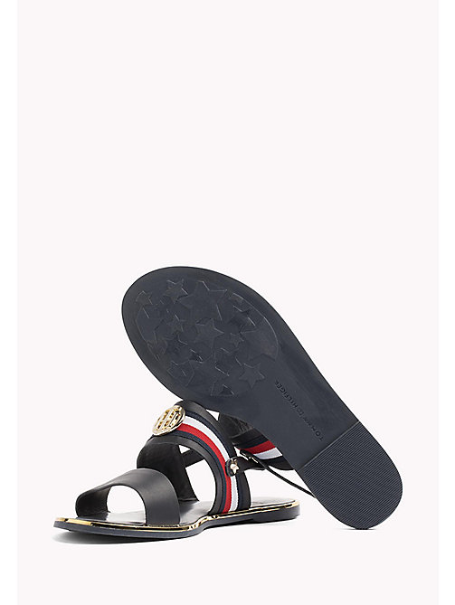 TOMMY HILFIGER Open Toe Leather Sandals - MIDNIGHT - TOMMY HILFIGER Flat Sandals - detail image 1
