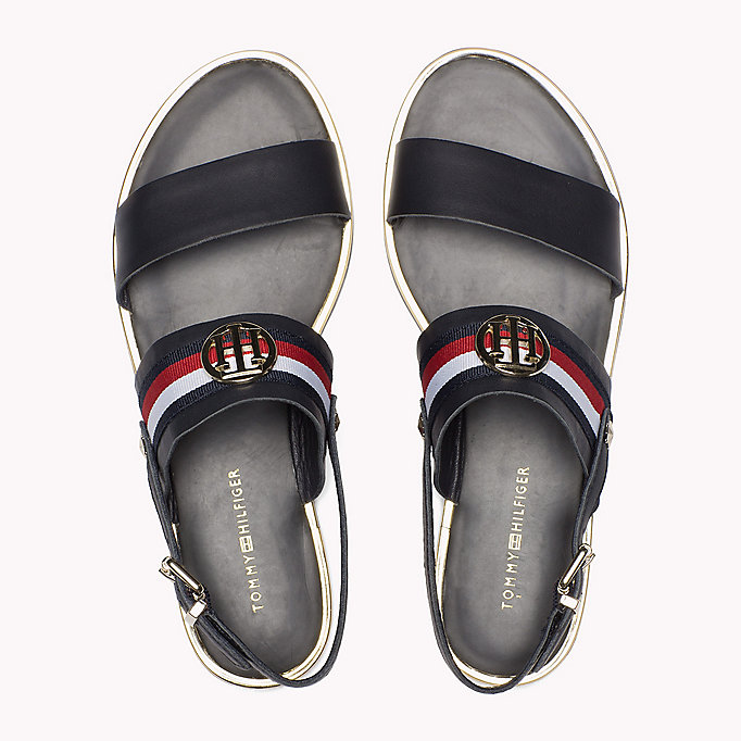 TOMMY HILFIGER Open Toe Leather Sandals - WHISPER WHITE - TOMMY HILFIGER SHOES - detail image 3