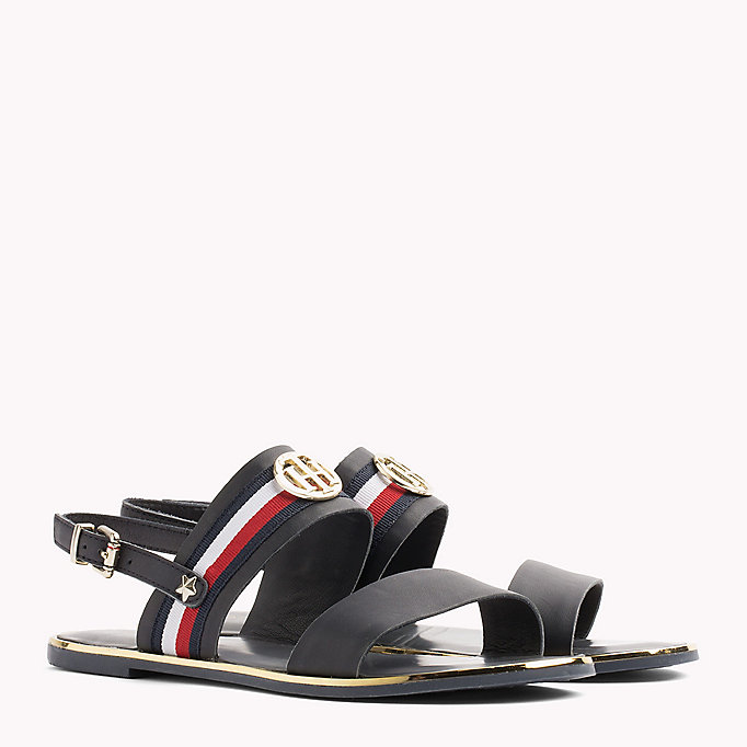 TOMMY HILFIGER Open Toe Leather Sandals - WHISPER WHITE - TOMMY HILFIGER SHOES - main image